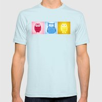 Bright Owls Mens Fitted Tee Light Blue SMALL