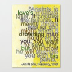 Anaïs Nin on Love, I Canvas Print