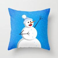Blue Happy Singing Snowm… Throw Pillow