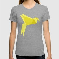 Origami Bird Womens Fitted Tee Tri-Grey SMALL