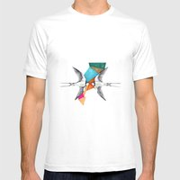 Swallows, Geometric Draw… Mens Fitted Tee White SMALL