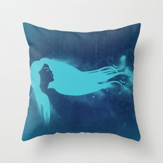 Girl In The Wind Throw Pillow