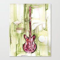 red on green gutair Canvas Print