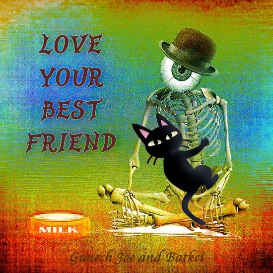 """Love your best friend"" ( Whim and Monsieur Bone) By Batkei and Joe Ganech Art Print"