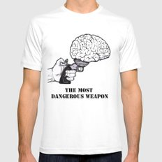THE MOST DANGEROUS WEAPON Mens Fitted Tee SMALL White