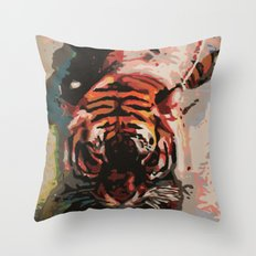 Tiger in the Water Painting Throw Pillow