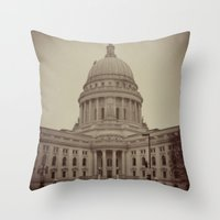 Madison Wisconsin Capital Building Architecture Sepia Photography Throw Pillow