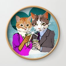 Kitty Cocktails Wall Clock