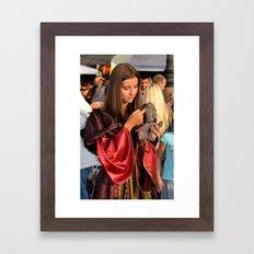 Renaissance Dressed Beauty and the Cute Little Beast Framed Art Print