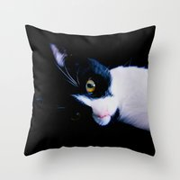 Black White Cat Throw Pillow
