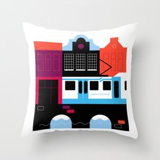 Postcards from Amsterdam / Tram Throw Pillow