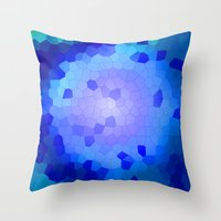 Aqua Stained Throw Pillow