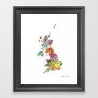 United Kingdom Map Framed Art Print