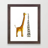 Who is taller Giraffe or Penguins? Framed Art Print