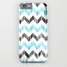 Grunge Chevron black/white/cyan iPhone 6 Slim Case