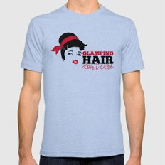 Glamping Hair Don't Care Mens Fitted Tee Tri-Blue SMALL