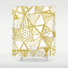 Golden Doodle triangles Shower Curtain
