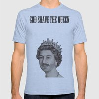 God shave the Queen Mens Fitted Tee Athletic Blue SMALL