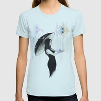 Pluviophile Womens Fitted Tee Light Blue SMALL