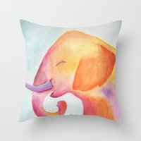 Cheerful Elephant v.1 Throw Pillow
