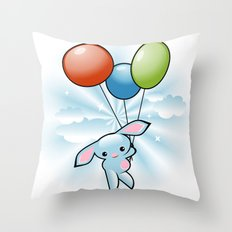 Cute Little Blue Bunny Flying With Balloons Throw Pillow