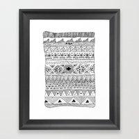Pizza Pattern (black) Framed Art Print