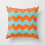 Chevron - Teal And Orang… Throw Pillow