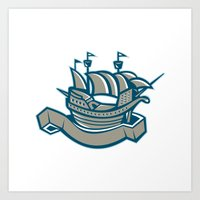 sailing ship galleon scroll Art Print