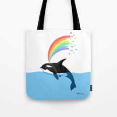 Killer Whale Blows Rainbow Tote Bag