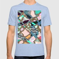 ELECTRIC VIBES Mens Fitted Tee Tri-Blue SMALL
