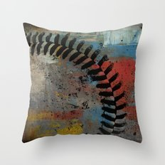 Painted Baseball Throw Pillow