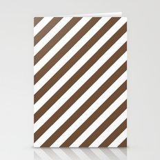 Diagonal Stripes (Coffee/White) Stationery Cards
