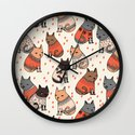Sweater Cats - by Andrea Lauren Wall Clock