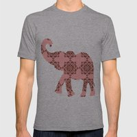 Floral Brown and Pink Elephant Mens Fitted Tee Athletic Grey SMALL