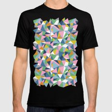 Abstraction Repeat Pink Black Mens Fitted Tee SMALL
