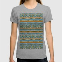 Desert Sunrise Ikat Womens Fitted Tee Athletic Grey SMALL