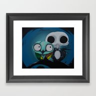 Framed Art Print featuring The Owl Jack And Sally by Annelies202