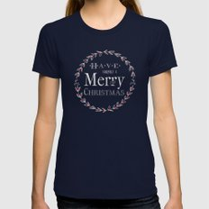Merry Christmas Womens Fitted Tee Navy SMALL