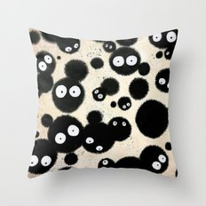 Cute Susuwatari Infestation Throw Pillow