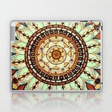 Sketched Mandala - Blue Textured Background Laptop & iPad Skin