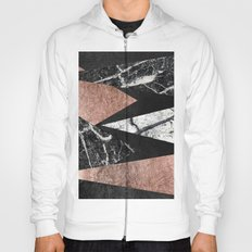Elegant Modern Marble, Rose Gold, & Black Foil Triangles Hoody