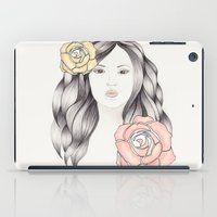 Whimsical Face with Pastel Roses iPad Case