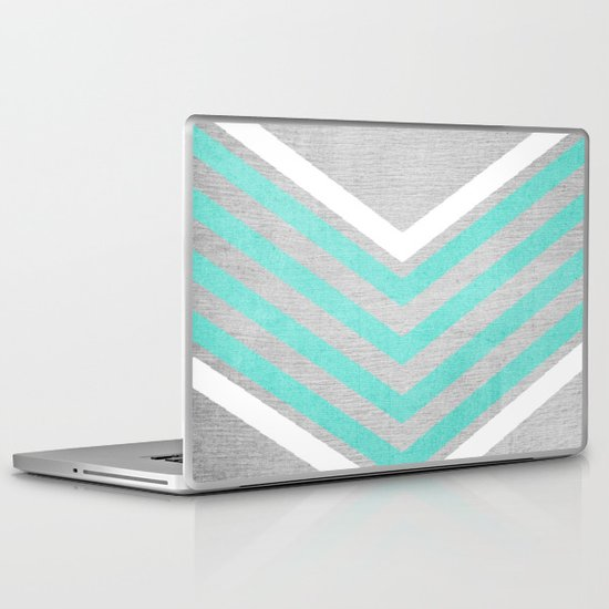 Teal and White Chevron on Silver Grey Wood Laptop & iPad Skin