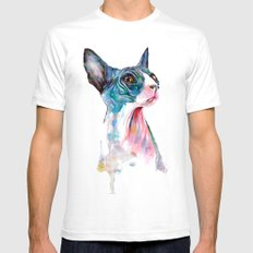 cat on pink Mens Fitted Tee White SMALL