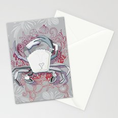 Crab tangling, simple grey Stationery Cards