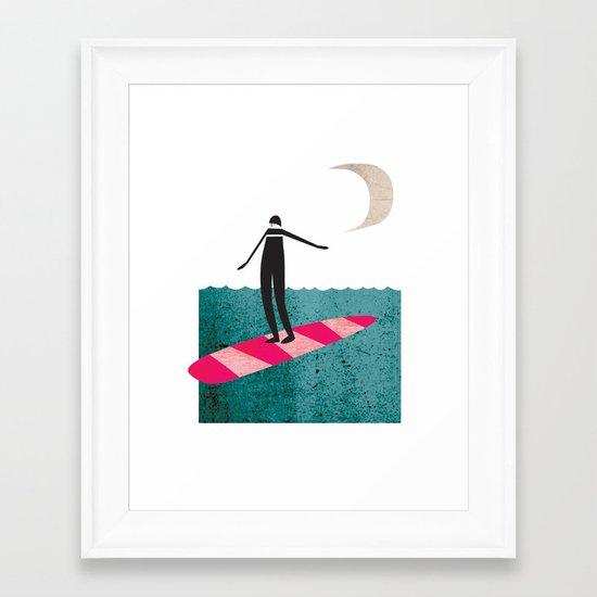 Lady Boarder Framed Art Print