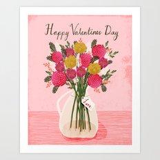 Valentines Day Bouquet floral vase flower by Andrea Lauren  Art Print
