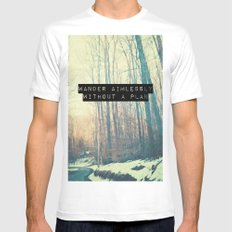 Wander Aimlessly  White Mens Fitted Tee SMALL