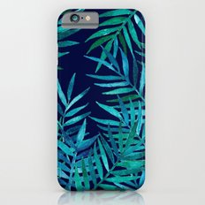 Watercolor Palm Leaves on Navy Slim Case iPhone 6s