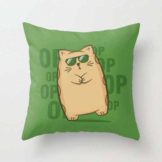 Gangnam Kitty Throw Pillow